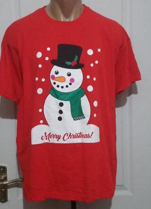 Новогодняя футболка со снеговиком