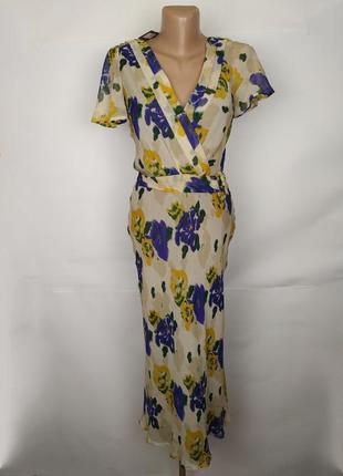 Платье новое шелковое в цветы john lewis uk 6/34/xs