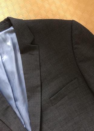 Серый шерстяной/с шерстью пиджак/блейзер в полоску датского бр...