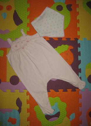 Нежные и легкие ползунки на малышку + слюнявчик tu 3-6мес