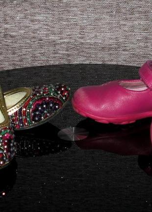 Туфли кожаные clarks и туфли расшитые со стразами  (13,5-14см)...