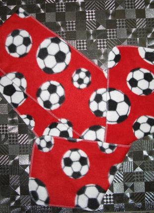 Теплый флисовый шарф в футбольные мячики 18*150см