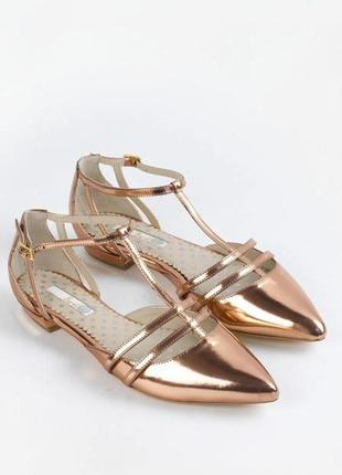 Золотые (золотистые) кожаные брендовые туфли boden р. 36