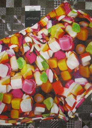 Яркие летние короткие легкие (пляжные) шорты topshop uk12