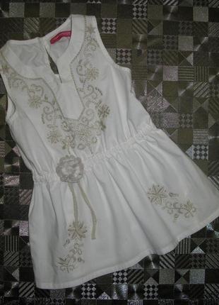 Очень стильное хлопковое платье туника  с вышивкой и цветком y...