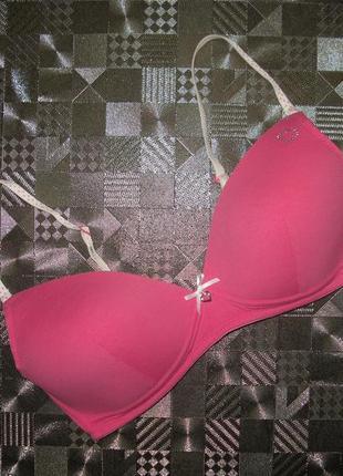 Милый розовый хлопковый бюстгальтер без косточек marks&spenser...