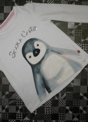 Белый хлопковый реглан с милым пингвинчиком зимняя тематика (н...