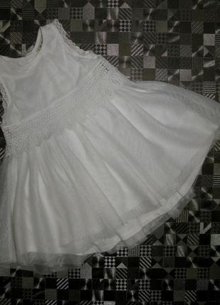 Нарядное белое пышное кружевное шифоновое платье next 12-24мес