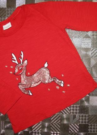 Красивенький хлопковый новогодний реглан с блестящим оленем па...