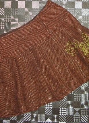 Шерстяная теплая короткая юбка с люрексом only xs-s