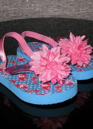 Яркие флип-флопы с цветком, вьетнамки пляжные босоножки р. 6 1...