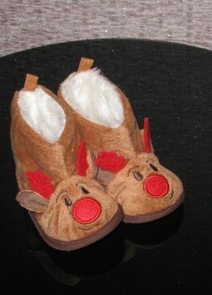 Новогодние теплые пинетки сапожки угги primark 3-6мес