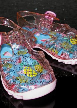 Глиттерные силиконовые босоножки аквашузы, сандалии для пляжа ...