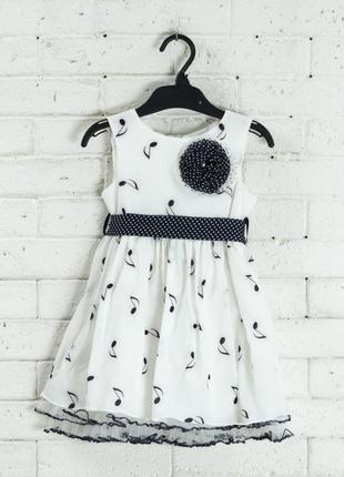 Нарядное белое пышное платье для девочки нотки р.92