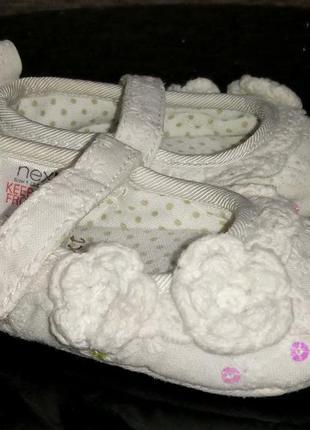 Белые нарядные ажурные кружевные туфельки пинетки next 3-6мес,...