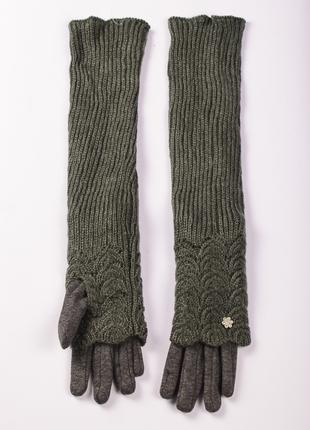 Перчатки женские на меху с вязаными митенками Королева R-71-3....