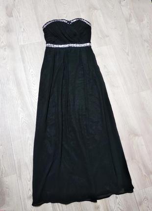 Шикарное вечернее нарядное длинное платье с камнями