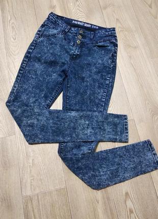 Крутые высокие джинсы стрейчевые скинни варенки с высокой поса...