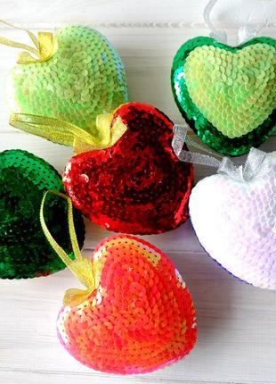 Игрушка интерьерная из пайеток, сердце-подвеска, валентинка