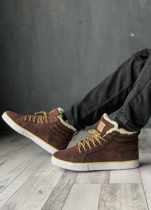 Теплые зимние ботинки adidas с мехом в коричневом цвете /осень...