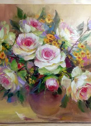 Роза чайная картина маслом