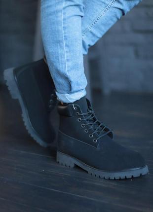 Теплые мужские ботинки timberland в черном цвете с мехом /осен...