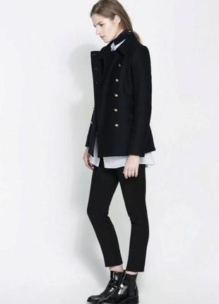 Черное демисезонное пальто полупальто с карманами ayette milan...