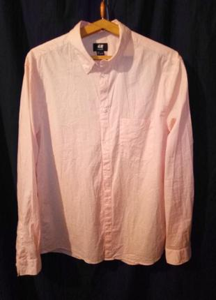 Рубашка мужская длинный рукав тонкая хлопковая персиковая
