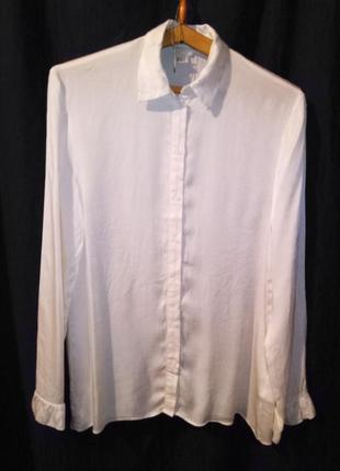 Рубашка женская атласная белая ровная