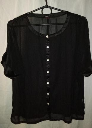 Блузка шифоновая с коротким рукавом черная прозрачная.