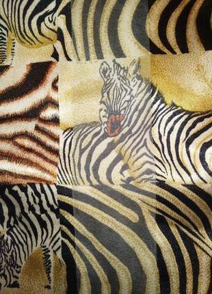 Шарф тонкий шифоновый  принт зебра