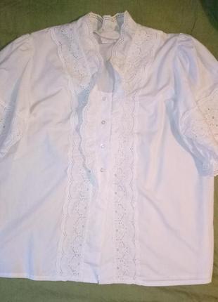 Рубашка  блузка белая  хлопковая кружевная рукава фонарик