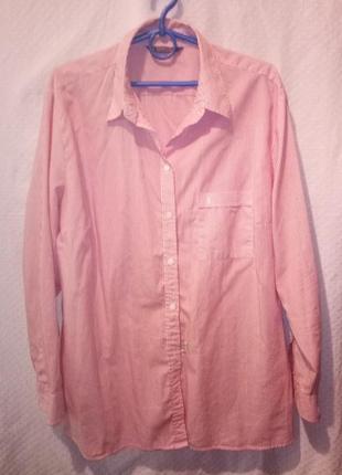 Рубашка женская бойфренд белая в красную полоску