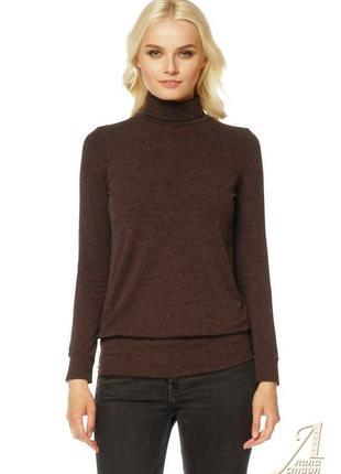 Водолазка  свитер коричневая шерстяная воротник стойка