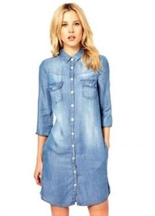 Удлиненнная рубашка джинсовая женская рубашка платье голубая