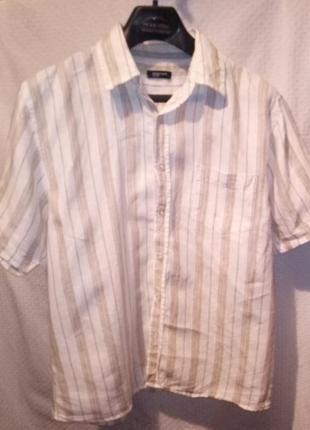 Рубашка мужская льняная в полоску короткий рукав