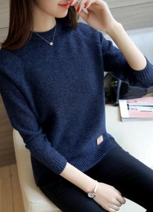Свитер пуловер женский темно синий шерсть шерстяной