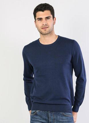 Свитер пуловер мужской темно синий шерсть шерстяной