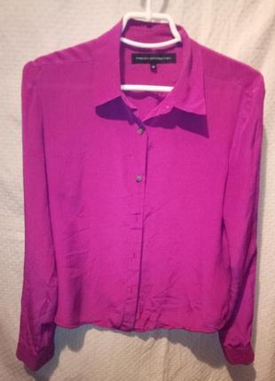 Блузка рубашка лиловая шелковая женская