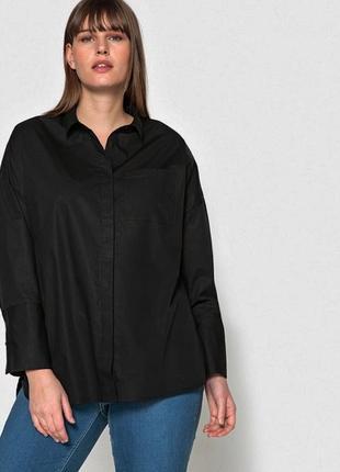 Рубашка женская черная оверсайз бойфренд плюс размер