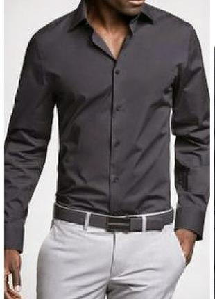 Рубашка мужская темно серая графитовая