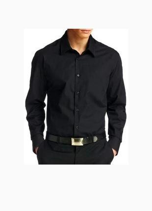 Рубашка мужская черная длинный рукав