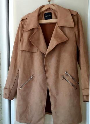 Замшевый кардиган тренч пиджак пальто