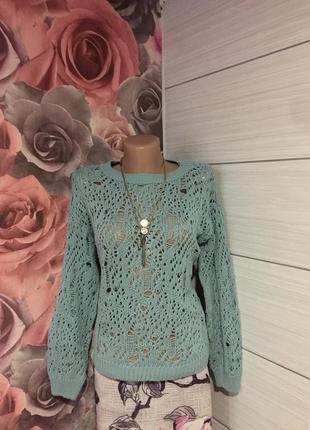 Супер -модный свитер с ажурным «дырчатым» узором.48 р!прелесть!