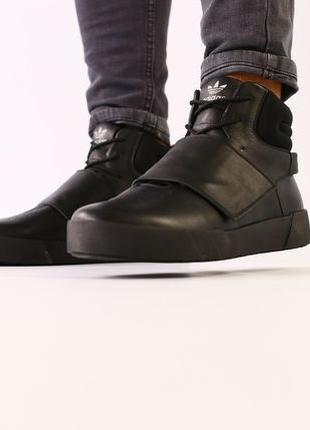 Зимние кроссовки Adidas Tubular Invader Strap. Натуральная кожа!