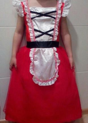 Карнавальный новогодний костюм красная шапочка на 6-8 лет