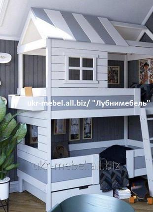 Кровать детская двухъярусная Дом6 люкс двоярусне дерев'яне ліжко