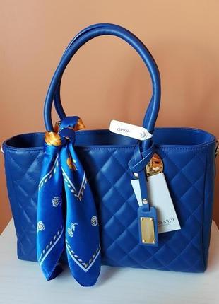 Trussardi collection синяя кожаная сумка cortanze