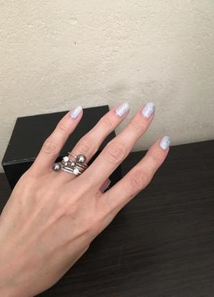 Новый набор из 6 колец с кристаллами и жемчужинами