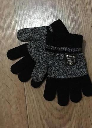 Стильные меланжевые перчатки на мальчика 2-5 лет